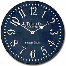 Toll2452 Navy Blue Wall Clock Round Clock Wooden