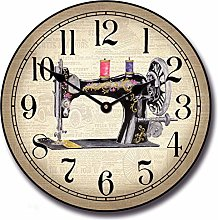 Toll2452 Sewing Room Wall Clock Round Clock Wooden
