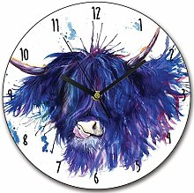 Toll2452 Wooden Highland Cow Clock Scottish Cow