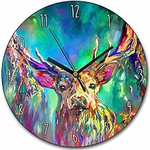 Toll2452 Woodland Stag Clock Colourful Stag Wall