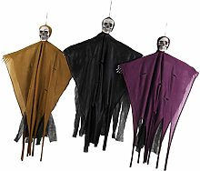 Tomaibaby 3Pcs Halloween Hanging Skull Ghost Gauze