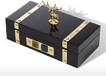 Tooarts - Rectangular Gold Jewelry Box - Deer Wood