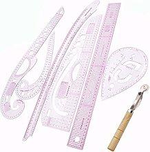 TOOGOO 7Pcs/Set Ruler Tailor Measuring Kit Clear