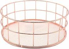 TOOGOO Nordic Style Rose Gold Iron Storage Basket