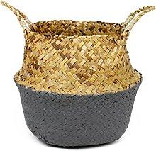 TOOGOO Rattan Basket Straw Basket Garden Foldable