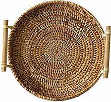 TOOGOO Rattan Bread Basket Round Woven Tea Tray