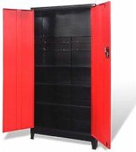 Tool Cabinet with 2 Doors Steel 90x40x180 cm Black