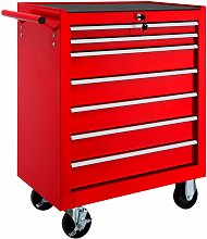 Tool chest with 7 drawers - tool box, tool box on wheels, tool cabinet - red