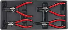 Tool Tray with Circlip Pliers Set 4pc - Sealey