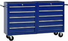 Tool Trolley with 10 Drawers Steel Blue