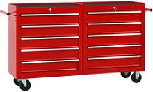 Tool Trolley with 10 Drawers Steel Red