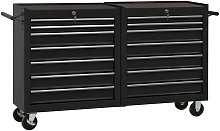 Tool Trolley with 14 Drawers Steel Black