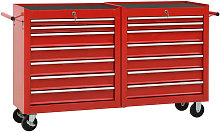 Tool Trolley with 14 Drawers Steel Red - Red -