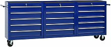 Tool Trolley with 15 Drawers Steel Blue