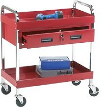 Tool Trolley With 2 Shelves And 1 Drawer (125kg Capacity), Red, Free Standard Delivery