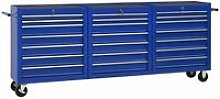 Tool Trolley with 21 Drawers Steel Blue