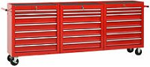 Tool Trolley with 21 Drawers Steel Red