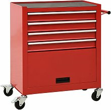 Tool Trolley with 4 Drawers Steel Red