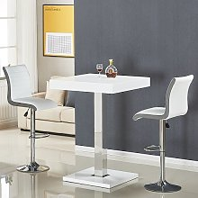 Topaz Bar Table In White Gloss With 2 Ritz White