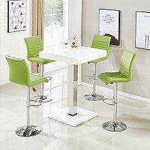 Topaz Bar Table In White High Gloss 4 Ripple Lime