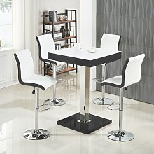 Topaz White Glass Top Bar Table In Black Gloss And