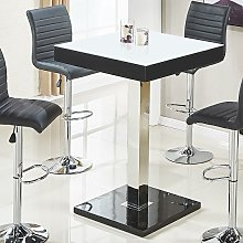 Topaz White Glass Top Bar Table Square With Black