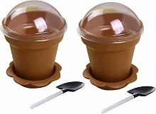 TOPBATHY 10pcs Dessert Cups with Dome Lids Spoons