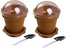 TOPBATHY 20pcs Dessert Cups with Dome Lids Spoons