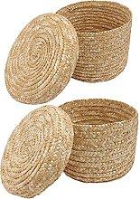 TOPBATHY 2Pcs Wicker Storage Basket Round Rattan