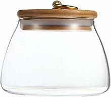 TOPBATHY 500ML Glass Food Jar with Wooden Lid