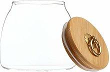 TOPBATHY 650ML Glass Food Jar with Wooden Lid