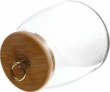 TOPBATHY 900ML Glass Food Jar with Wooden Lid