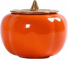 TOPBATHY Ceramic Tea Canister Pumpkin Shape