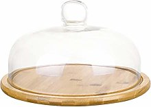 TOPBATHY Clear Glass Dome Cloche with Base Tay