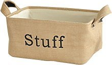 TOPBATHY Jute Storage Bin Basket with Stuff