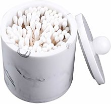 TOPBATHY Resin Cotton Swab Holder with Lid Marble