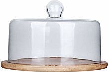 TOPBATHY Wood Cake Cheese Display Stand with Glass