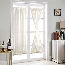 Topchances Sheer Curtains, 1Panel White French