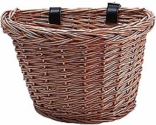 TOPCL Wicker Bicycle Basket, Portable Handmade