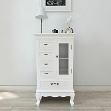 Topdeal Cabinet with 5 Drawers 2 Shelves White