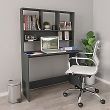Topdeal Desk with Shelves Grey 110x45x157 cm