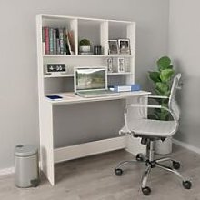 Topdeal Desk with Shelves White 110x45x157 cm