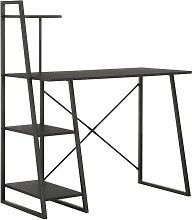 Topdeal Desk with Shelving Unit Black 102x50x117
