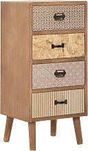 Topdeal Side Cabinet with 4 Drawers Brown