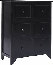 Topdeal Side Cabinet with 6 Drawers Black 60x30x75