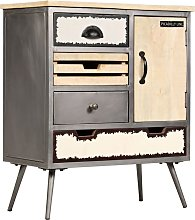 Topdeal Sideboard Solid Mango Wood and Steel