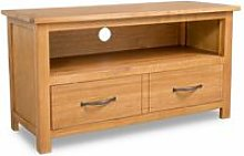 Topdeal TV Cabinet 90x35x48 cm Solid Oak Wood
