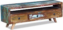 Topdeal TV Cabinet with 3 Drawers Solid Reclaimed
