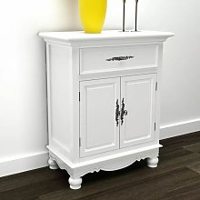 Topdeal Wooden Cabinet with 2 Doors 1 Drawer White