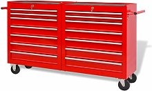 Topdeal Workshop Tool Trolley with 14 Drawers Size
